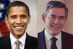 Barack Obama y Gordon Brown