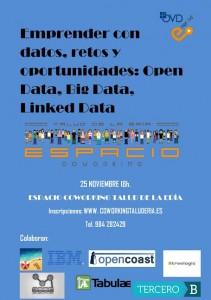 Jornadas emprender con datos. 25 Noviembre. http://www.coworkingtaluderia.es/